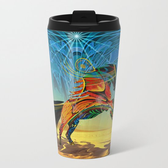 The Wind of Time (Red Horse) Metal Travel Mug