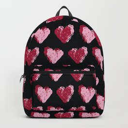 Red brush stroke textured love hearts Backpack