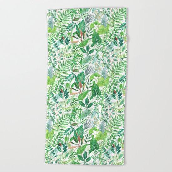 greenery watercolor pattern Beach Towel