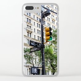 New York Traffic Lights & Signs at Wall Street / Broadway Junction Clear iPhone Case