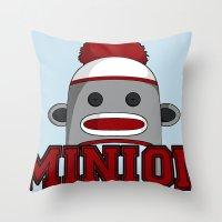 minions Throw Pillows featuring Misha's Minions by Evie Bird