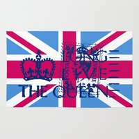 british flag Area & Throw Rugs featuring British Flag in Pink by GraphicDivine
