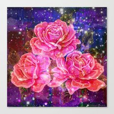 Roses with sparkles and purple infusion Canvas Print
