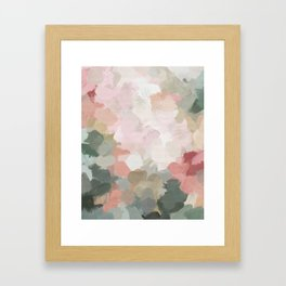 Forest Green Fuchsia Blush Pink Abstract Flower Spring Painting Art Gerahmter Kunstdruck