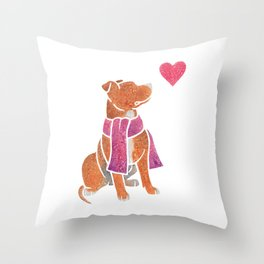 Watercolour Pit Bull Throw Pillow