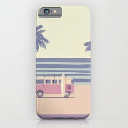 Surfer Graphic Beach Palm-Tree Camper-Van II iPhone Case