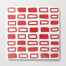Mid Century Modern Abstract Squares Pattern 442 Red Metal Print