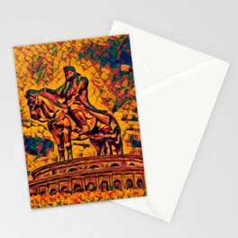 Mongolia Chinggis Khan Equestrian Statue Artistic Illustration Warrior Shapes Style Stationery Cards