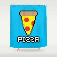 8 bit Shower Curtains featuring 8-Bit Pizza by Katie White