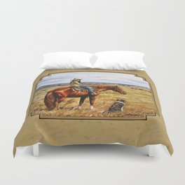 Young Cowgirl on Cattle Horse Duvet Cover