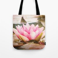 lotus flower Tote Bags featuring Lotus by Around the Island (Robin Epstein)