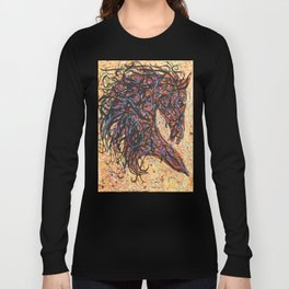 Abstract Horse Digital Ink Pollock Style Long Sleeve T-shirt