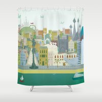 barcelona Shower Curtains featuring Barcelona by LaPendeja