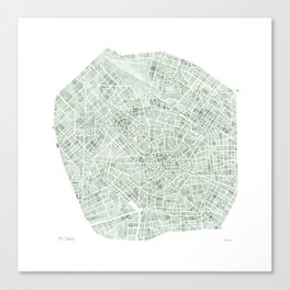 Milan Italy watercolor map Canvas Print