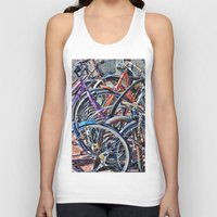 bicycles Tank Tops featuring Lots of colorfull bicycles by Claude Gariepy