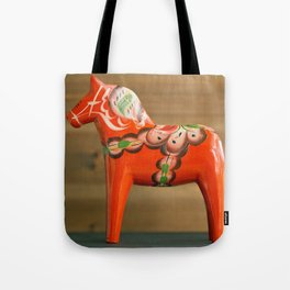 One handmade wooden Dalahorse close side view Tote Bag