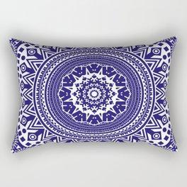 Mandala 006 Midnight Blue on White Background Rectangular Pillow