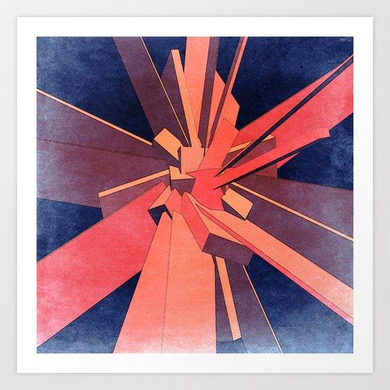 Vintage Orange Rectangles Art Print