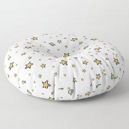 Starry Sky Seamless Vector Pattern, Hand Drawn Illustration Yellow Stars Galaxy Floor Pillow