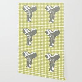 Khaki Safari Dot with Pop Art Elephant Wallpaper