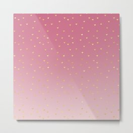 Gold Hearts Blush Pink Ombre Metal Print