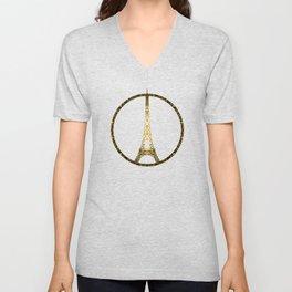 Paris Eiffel Tower gold sparkles peace symbol Unisex V-Neck