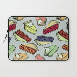 Easy As Pie - cute hand drawn illustrations of pie on sage green Laptop Sleeve