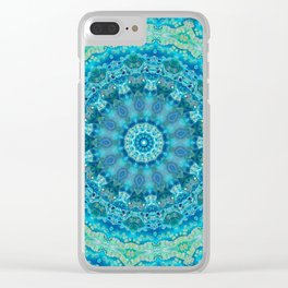 Big Blue Swirl - Abstract Kaleidoscope Art Clear iPhone Case
