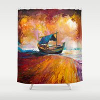 boat Shower Curtains featuring Boat by BOYAN DIMITROV