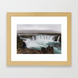 Godafoss waterfall in Iceland - nature landscape Framed Art Print