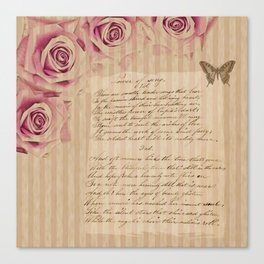 Romantic vintage roses and poetry / handwriting Canvas Print