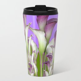 ART NOUVEAU PURPLE CALLA LILIES & BUTTERFLY FLOWERS ART Travel Mug