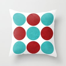 modern dots - aqua and red Throw Pillow
