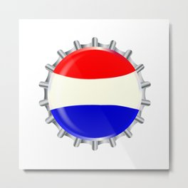 Red White And Blue Bottle Cap Metal Print