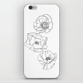 Botanical illustration line drawing - Poppies iPhone Skin