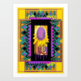 Lilac Sunflower Morning in Yellow, Green, Purples and Black Abstract. Art Print