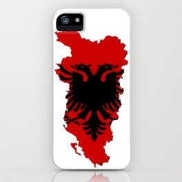 Albania Map with Albanian Flag iPhone Case