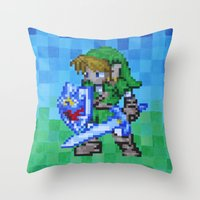 8bit Throw Pillows featuring 8bit Link by Cariann Dominguez