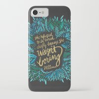 fitzgerald iPhone & iPod Cases featuring Zelda Fitzgerald – Blue on Black by Cat Coquillette