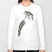 hipster Long Sleeve T-shirts featuring Hawk with Poor Eyesight by Phil Jones
