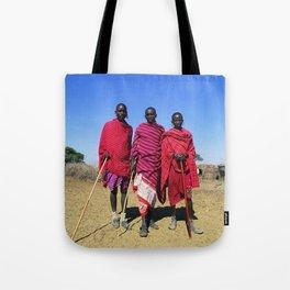 3 African Men from the Maasai Mara Tote Bag