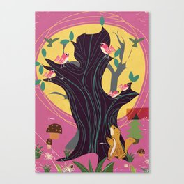 Cute vintage animals and birds on a tree Canvas Print