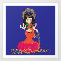 Goddess Lakshmi blue background Art Print
