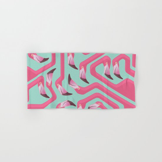 Flamingo Maze on beach glass background. Hand & Bath Towel