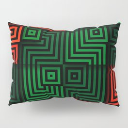 Red and green tiles with op art squares and corners Pillow Sham
