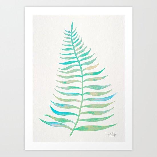 Palm Leaf – Sea Foam Palette Art Print