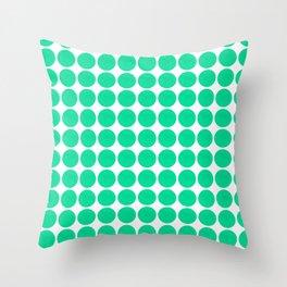 Mint Dots Throw Pillow