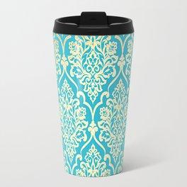 Teal Gold Mermaid Damask Pattern Travel Mug