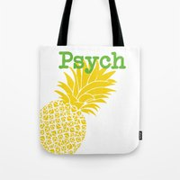 psych Tote Bags featuring Minimalist Psych  by Canis Picta