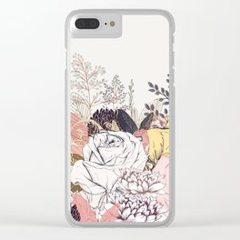 Miles and miles of rose garden. Retro floral pattern in vintag style Clear iPhone Case